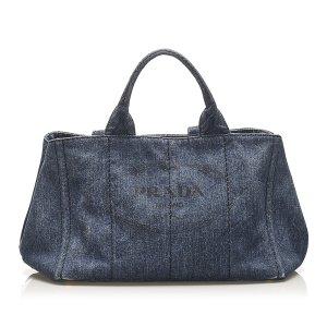 Prada Canapa Logo Denim Handbag