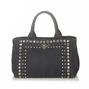 Prada Canapa Studded Canvas Handbag