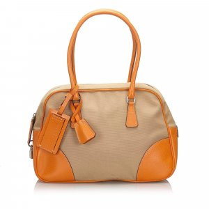 Prada Canvas Bowler Handbag