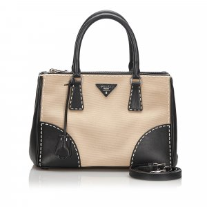 Prada Canvas Galleria Double City Stitch Satchel