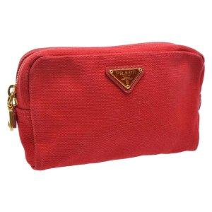 Prada Bolso de mano rojo fibra textil