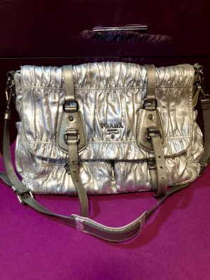 Prada College Bag silver-colored-light grey leather