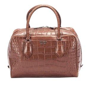 Prada Croc Embossed Leather Handbag