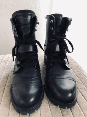 Prada Botas de tobillo negro-color plata
