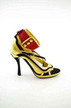 PRADA Damen High Heel Riemchen 20er 30er Leder Gold Schwarz Rot Klett Gr.38