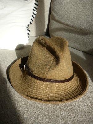 PRADA Damen Hut klassisch Wolle beige gefüttert Lederband