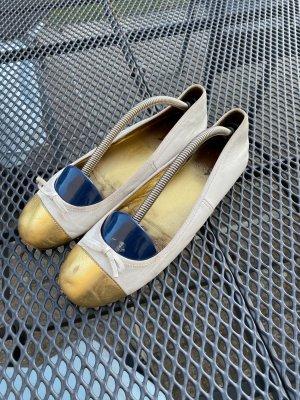 PRADA Echtleder Ballerinas weiß/ gold Gr. 38,5