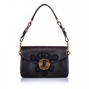 Prada Embroidered Leather Shoulder Bag