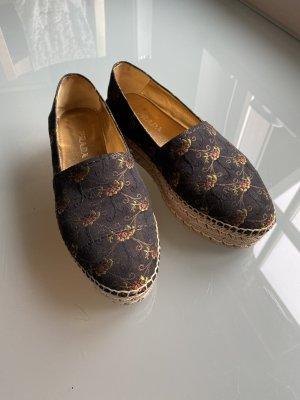Prada Espadrilles Schuhe Brokat Plateau braun gold