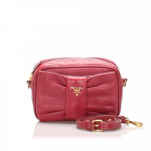 Prada Fiocco Bow Leather Crossbody Bag