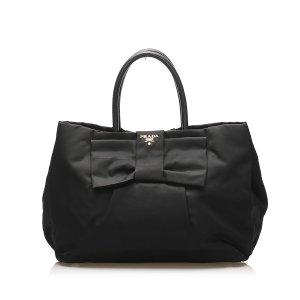 Prada Fiocco Bow Tessuto Tote Bag