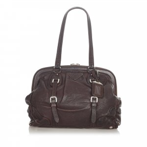 Prada Sac porté épaule brun foncé cuir