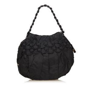 Prada Gathered Nylon Chain Shoulder Bag