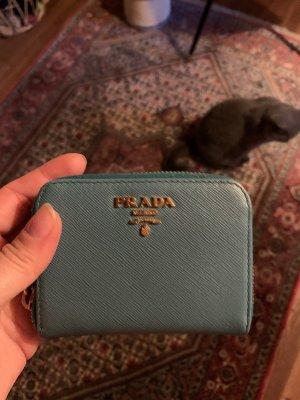 Prada Geldbeutel Saffiano Leder blau