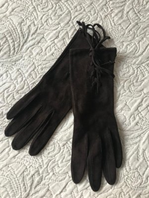 Prada Leather Gloves dark brown-brown leather