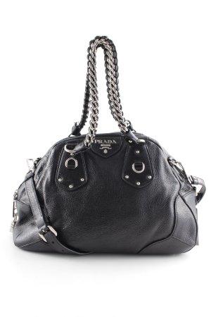Prada Handtasche schwarz-silberfarben Glanz-Optik