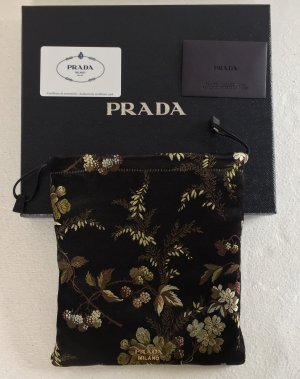 Prada, Handtasche, Seide Brokat, schwarz geblümt, neu