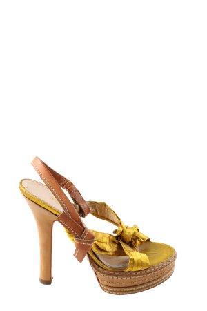 Prada High Heel Sandaletten blassgelb-braun Elegant