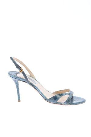 Prada High Heel Sandaletten blau Animalmuster Elegant