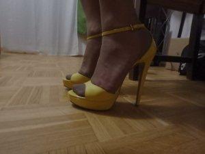 PRADA High Heel Stiletto Sandalette gelb echt Leder 38,5-39