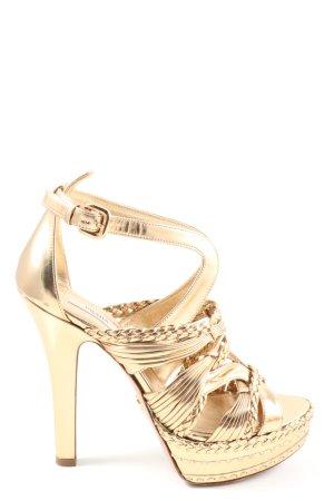Prada High Heels goldfarben Glitzer-Optik