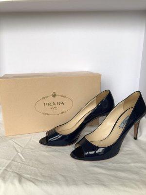 Prada High heels dunkelblau lack Peeptoes