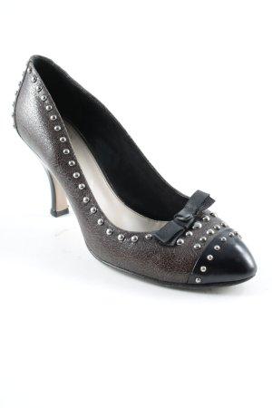 Prada High Heels dunkelbraun-schwarz Logo-Applikation