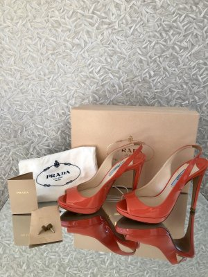 Prada Slingback Pumps bright red-salmon leather