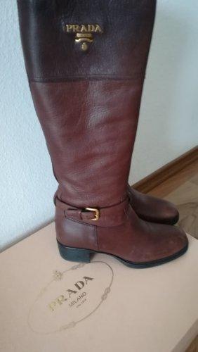 PRADA, klassische Damen Stiefel, Gr. 40,5, Schokobraun, gute Zustand