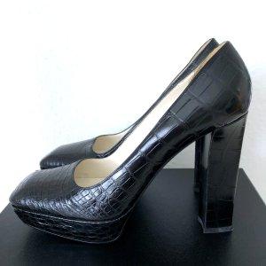 Prada Krokodil Leder Plateau Pumps 38,5 Schwarz Crocodile Skin Leather Black 38