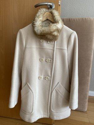 Prada Kurz Mantel aus Wolle in Cremefarbe mit passender Tasche