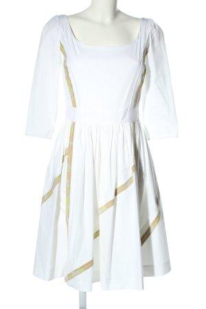 Prada Robe à manches courtes blanc-brun motif rayé style décontracté