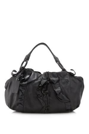 Prada Lambskin Leather Ruffle Shoulder Bag