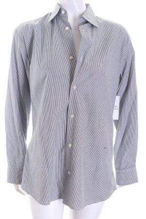 Prada Langarm-Bluse schwarz-weiß Streifenmuster Logo-Applikation