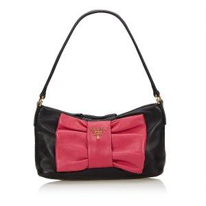 Prada Leather Bow Baguette