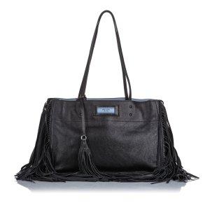 Prada Leather Etiquette Fringe Tote Bag
