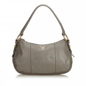 Prada Shoulder Bag dark grey leather