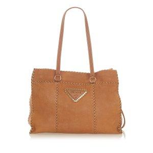 Prada Bolso de compra marrón Cuero