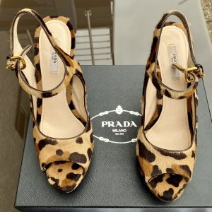 Prada Leopard Pony Hair High Heels