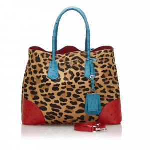 Prada Leopard Print Calf Hair Ostrich Double Tote Bag