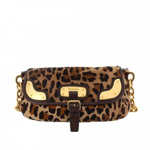 Prada Leopard Print Fur Chain Shoulder Bag