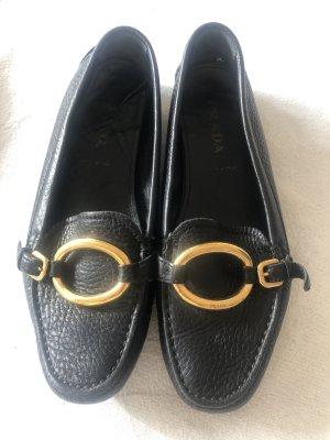 Prada Moccasins black-gold-colored leather