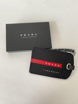 Prada Luggage-Tag Neu Original Schwarz Rot Luna Rossa Reisetasche Namensschild
