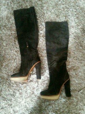 PRADA Luxus Stiefel Blockabsatz Plateau Echt Leder High Heel Boots