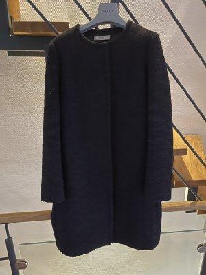 Prada Wełniany płaszcz czarny
