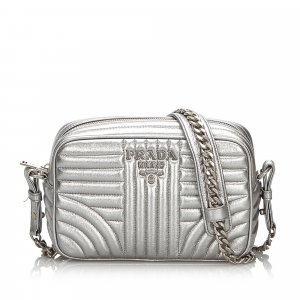 Prada Metallic Leather Diagramme Crossbody Bag