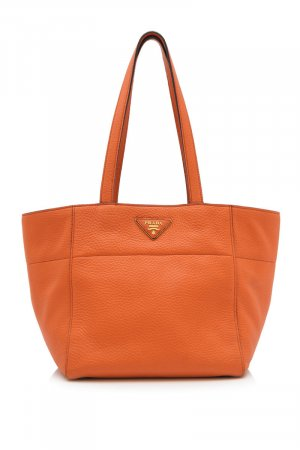 Prada Bolso de compra naranja Cuero