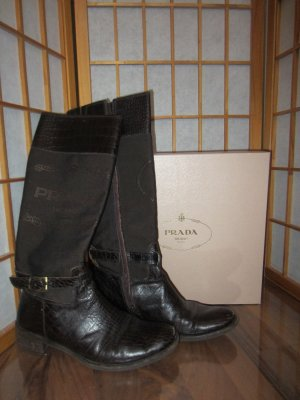 Prada Riding Boots dark brown leather
