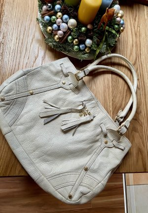 Prada Milano Vintage Leder Tasche Shopper Schultertasche Creme beige Weiß
