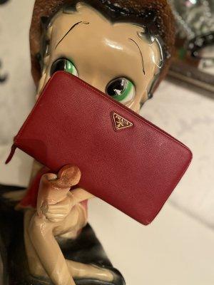 Prada Milano Zippy Wallet Saffiano/roundzip Organizer rot Leder